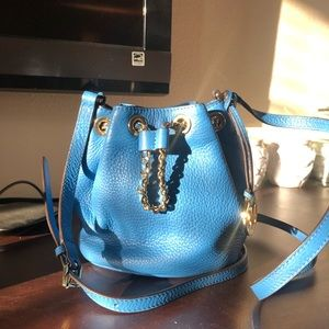 Michael Kors blue mini bucket bag